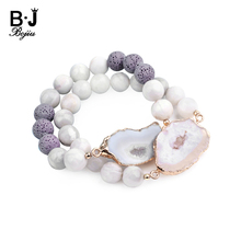 BOJIU Natural Stone Irregular Druzy Charm Bracelets For Women Elastic Handmade 8mm 10mm Round Beads Femme Gifts BC301