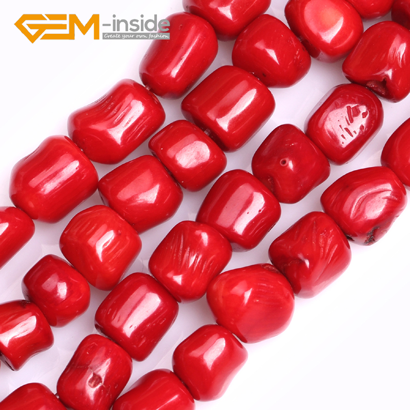 GEM-inside 10x11mm Freeform Shape <font><b>Red</b></font> <font><b>Coral</b></font> Beads for Jewelry Making Beads DIY Fashion Gifts Strand 15
