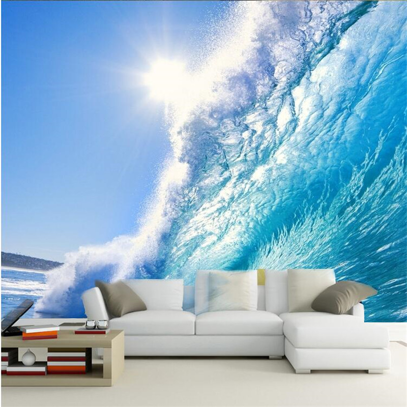 custom 3d painting art for living room the deep blue sea surf ocean waves large mural tv. Black Bedroom Furniture Sets. Home Design Ideas