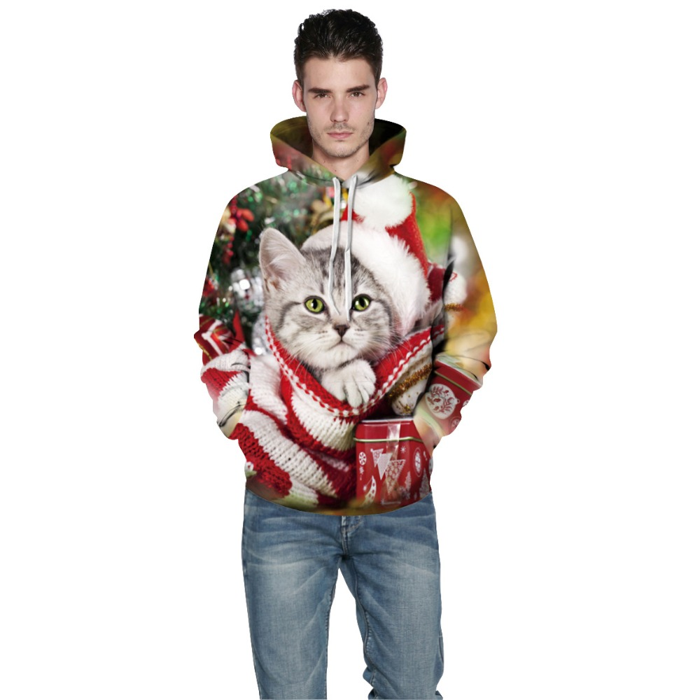 Echoine Women Christmas Sweatshirt Cut Cats Printed Hoody 2017 Men Couples Autumn Hooded Sweatshirt Large Size Animal Hoodies