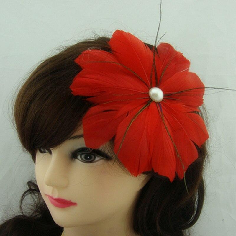 Модные свадебные головные уборы с перьями, популярные свадебные головные уборы,, 17 цветов, MSF090