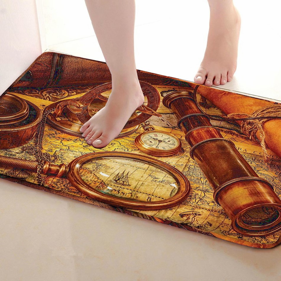 Telescope Style Bathroom Mat,Funny Anti skid Bath Mat,Shower Curtains Accessories,Matching Your Shower Curtain