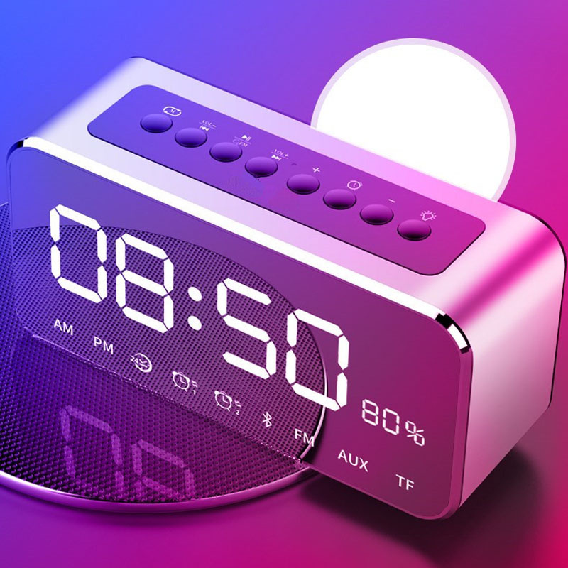 Portable Bluetooth Speaker with FM Radio Time Alarm Clock MP3 Player Mirror LED Stereo Speakers E2S