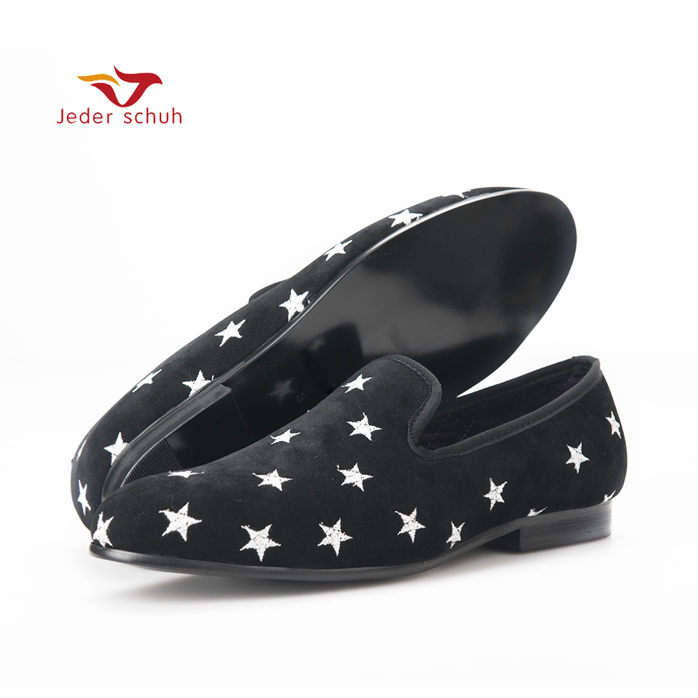 Jeder Schuh new British style Handmade men velvet shoes with star embroidery Party and Wedding men loafers male smoking slippers piergitar handmade men velvet shoes with a variety embroideries british style men smoking slippers party and prom men loafers