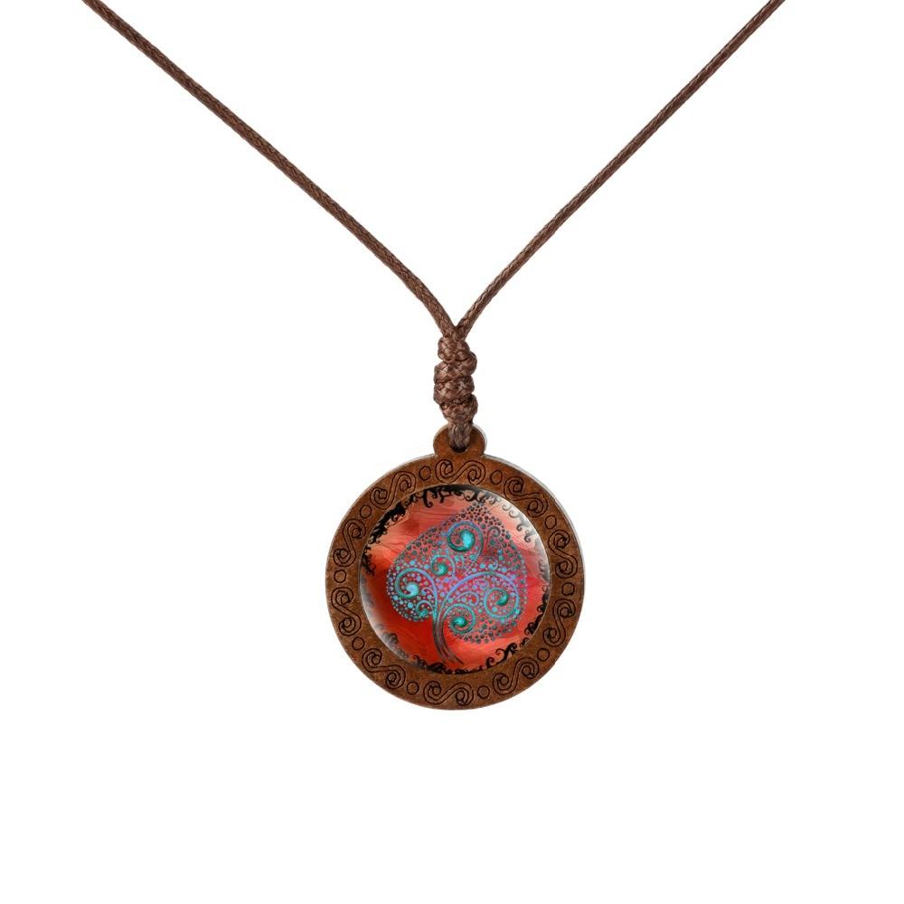 Ожерелье с кулоном из дерева жизни со стеклянной подвеской