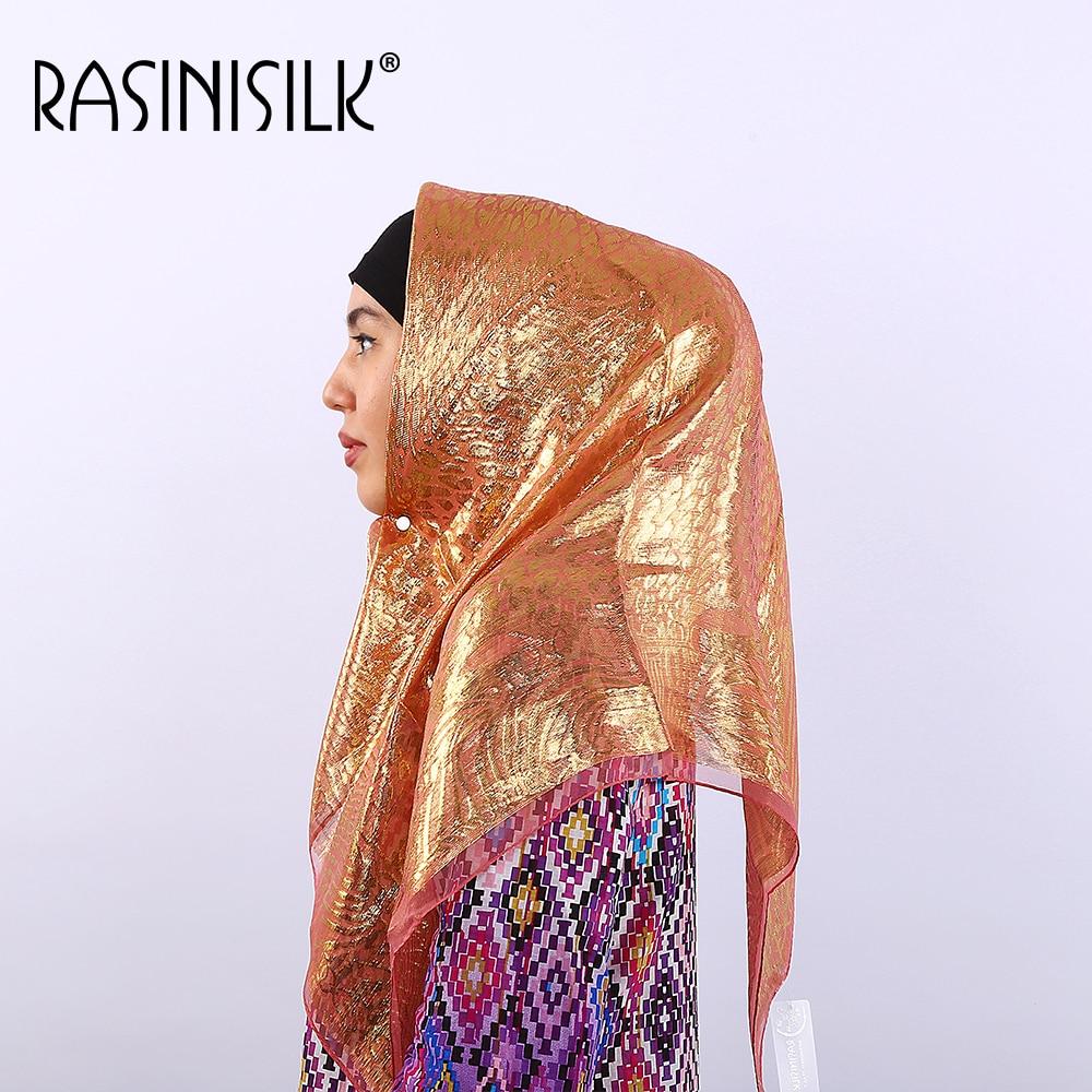 a34fd34c5c85 85 85 cm RASINISILK Soie De Mode De Marque Rivet Écharpe Châles de Hijabs  11 Couleurs En Mousseline de Soie Femmes Musulmanes Écharpe Hijabs B477-2