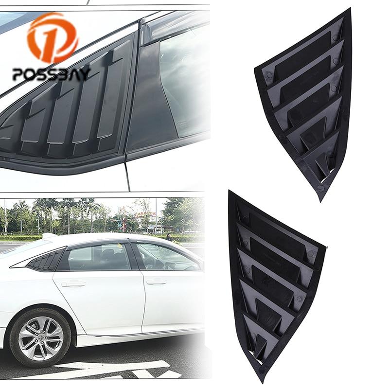 for 2018 Honda Accord Sedan Rear Window Quarter Louver Panel Gloss Black Style