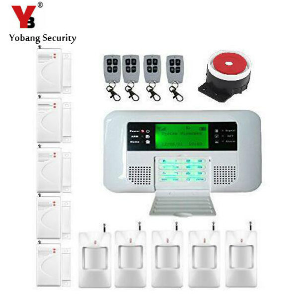 YobangSecurity English Russian Spanish voice wireless gsm alarm systems security home pstn alarm system with LCD keyboard dual network russian spanish french wireless gsm pstn alarm system home security alarm systems with lcd keyboard without battery