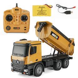 Nowy 10 kanałowy 1:14 pilot zdalnie sterowana ciężarówka Dump samorozładowanie Metal Auto demonstracja LED Light zabawki zdalnie sterowane w Ciężarówki RC od Zabawki i hobby na