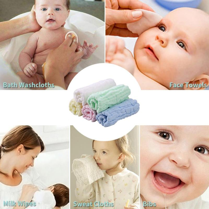 5pcs Six-Layer Baby Kids Square Washing Gauze Towel Cartoon Cotton Handkerchief Feeding Face Napkins Washcloth Wipe Cloth Hot
