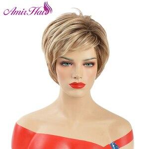 Image 4 - אמיר פלאפי פאות קצרות לבן נשים בלונד פאה סינטטי קצר מתולתל שיער פאת Ombre חום צבעים לשימוש יומיומי