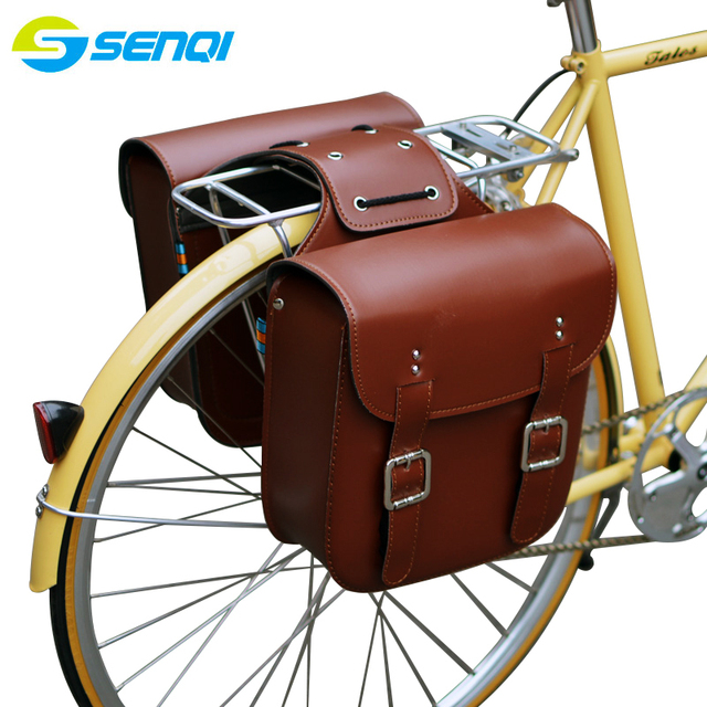 Retro Bicycle Rack Bag Leather Rear Bike Bags Robust Seatpost For
