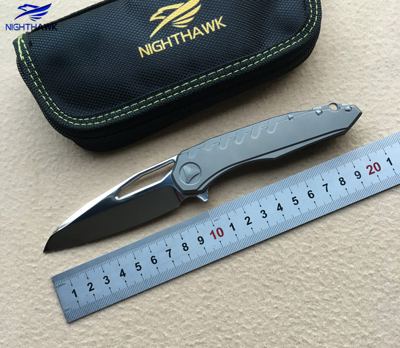 NIGHTHAWK Sigil folding knife ball bearing M390 blade TC4 titanium handle hunting outdoor tactical survival EDC
