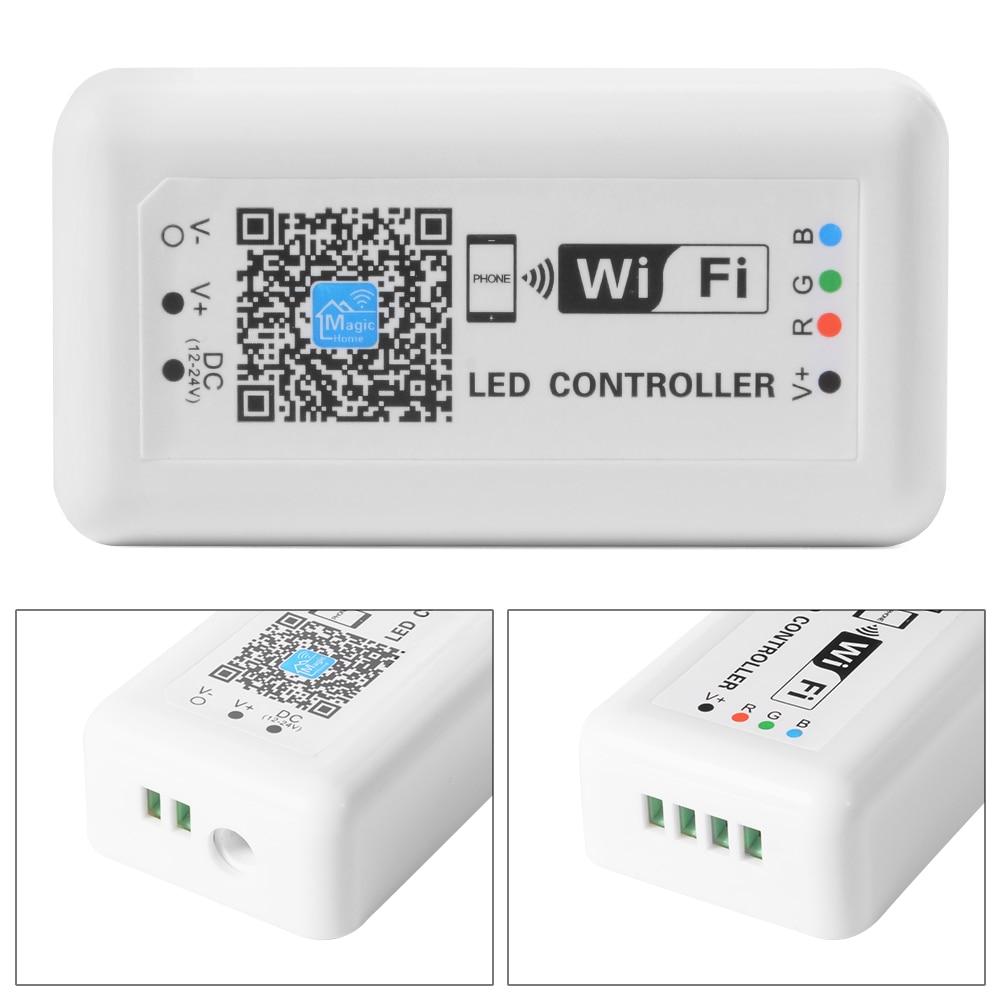 30M Control Distance 5M WiFi LED Tape Light SMD 5050 Non waterproof Flexible 12V 30leds/m RGB Strip Ribbon+WiFi Controller+Power