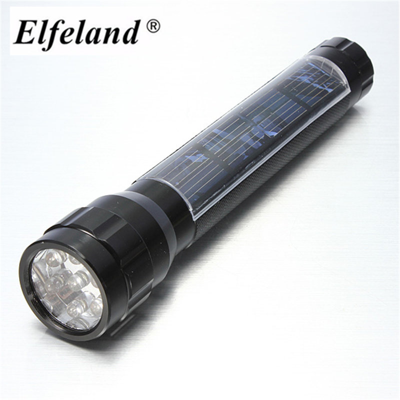 Elfeland Waterproof 7 LED Solar Flashlight Super Bright LED Torch Lamp Travel Light Camping Hiking Flash Light New Years