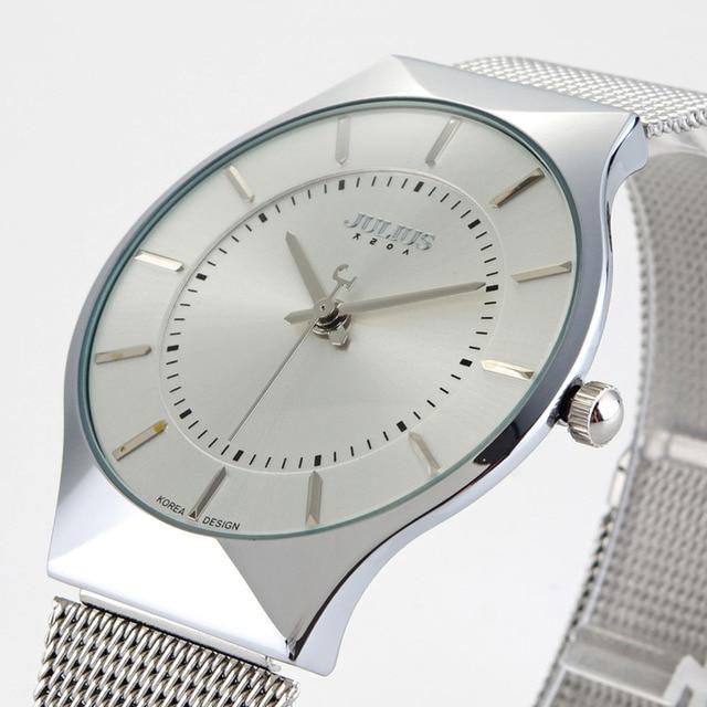 83fb5cf9487 Top marca julius mulheres relógios banda de aço inoxidável ultra fino  display analógico relógio de quartzo