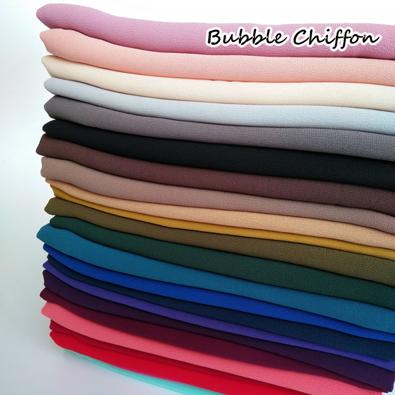 High quality plain bubble chiffon printe solid color shawls headband popular hijab muslim scarves