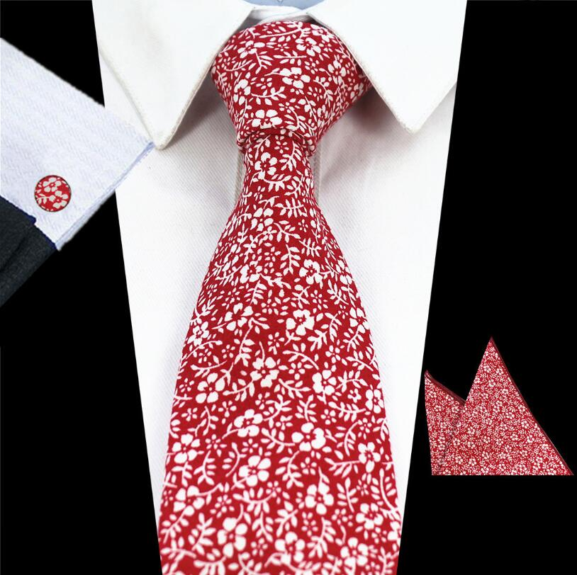 New Casual Floral Cotton Ties And Pocket Square Sets Flower Print For Men Women