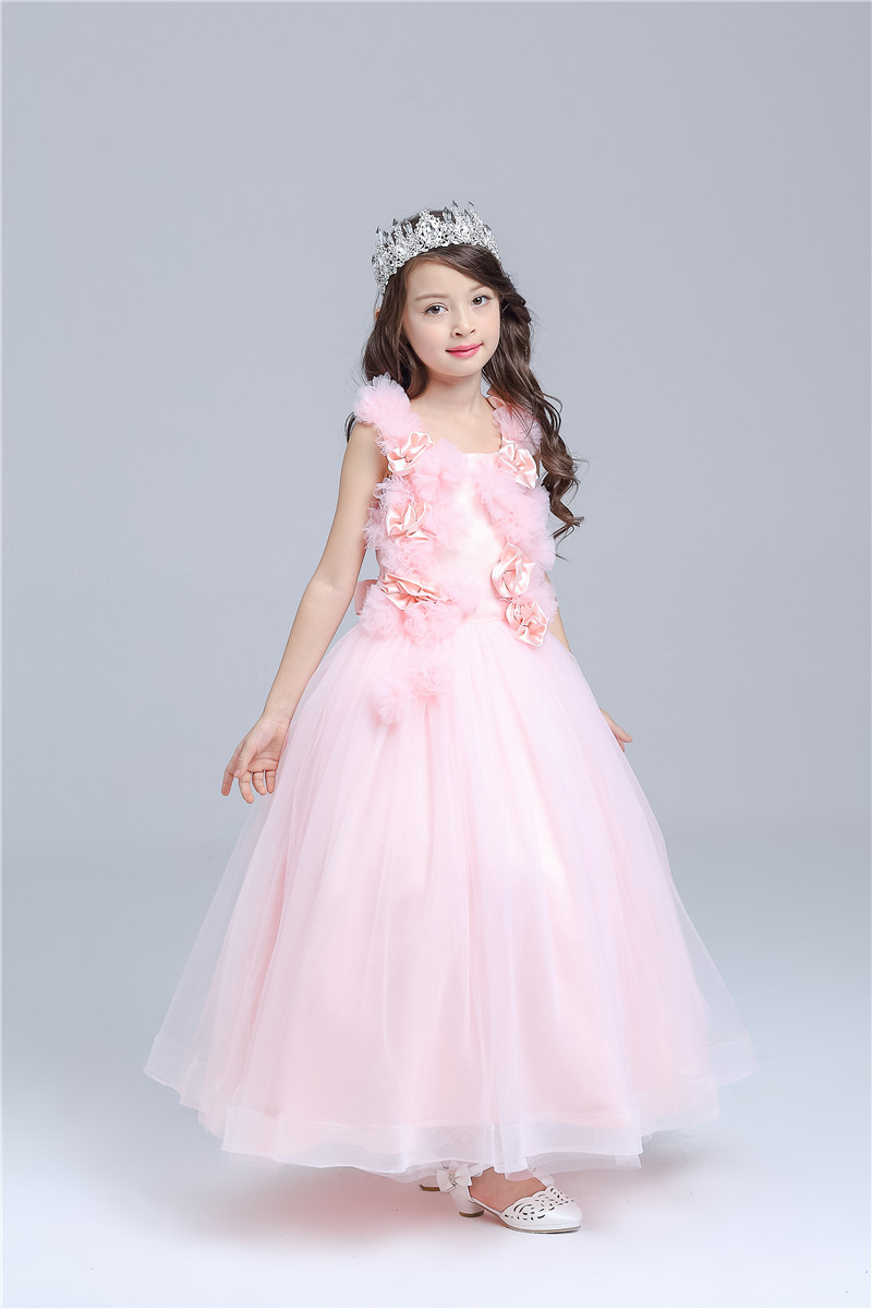 2019 New Pink Long Formal Girl Dress Christmas Kids vestidos Party Costume For 3 4 6 8 10 12 14 ...