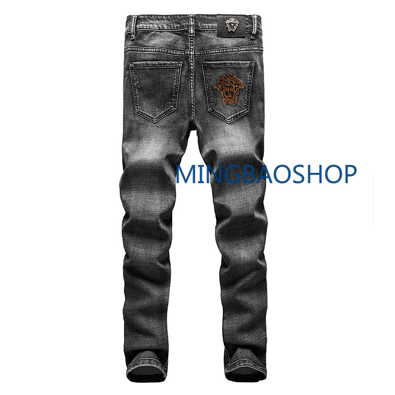 Embroidered New   Jeans   Men's Station Elastic Fitness Korean Straight Cylinder Smoke Gray Shoe Pants Chao Brand Men's Pants 2019