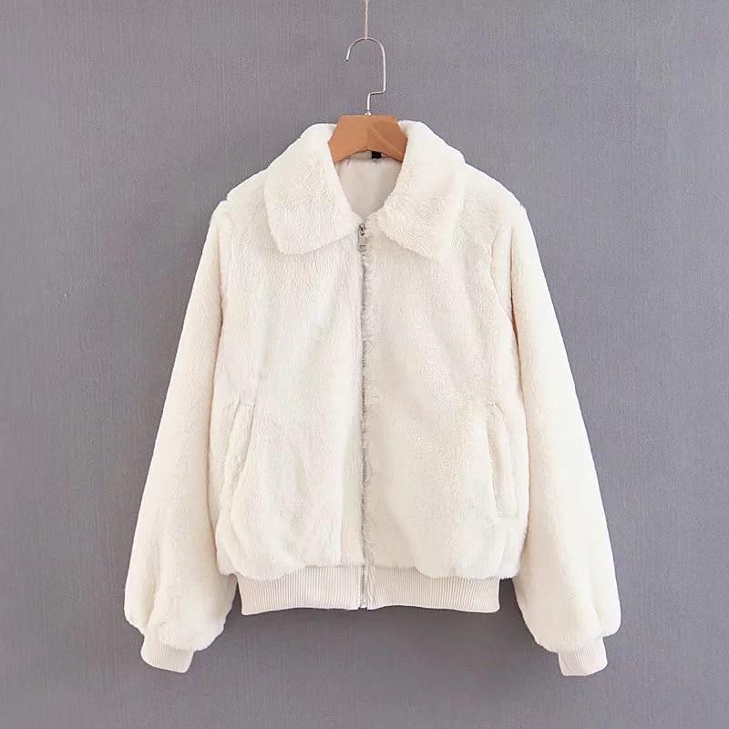 Faux Outwear La Lapin White Veste Femmes De Manteau Épais Blanc Fourrure Hiver Chaud Automne Féminine Cardigan Fluffy Sukibandra Mode Casual qYWwFxZnX7
