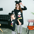 6012 # Matching Mother Daughter Clothes Sets Mom and Daughter Girl T Shirts + Dot Printed Pants 2016 Spring Family Look Outfits