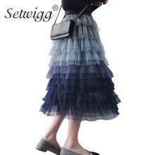 SETWIGG Super Fashion Gradient Blue Tiered Mesh A-line Long Spring faldas cintura banda dulce Puff capas tul pantorrilla verano falda
