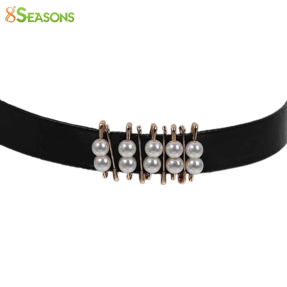 163552e32829 8 ESTACIONES de Nueva Negro PU Cuero Gargantilla Collar Chapado En Oro  Alfileres de gancho Blanco Acrílico perlas de imitación de 34 cm (13 3 8