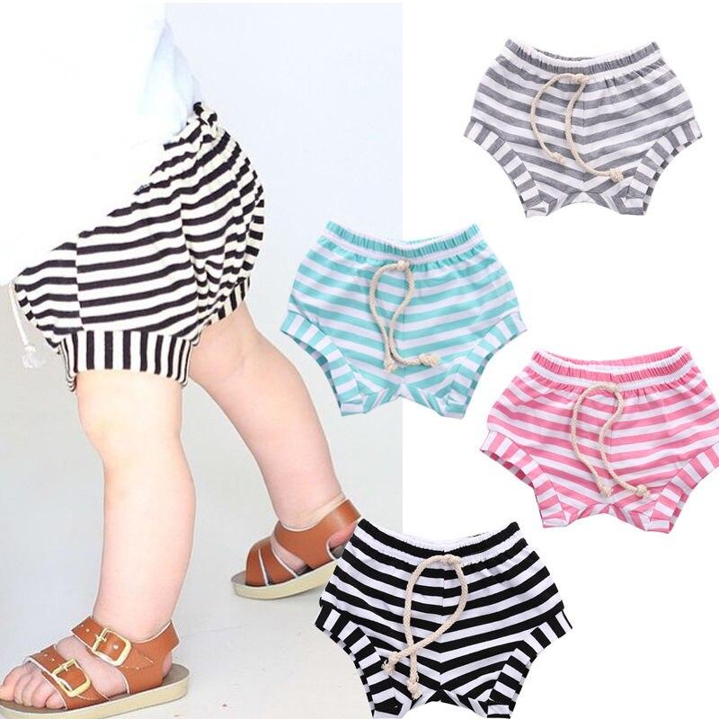 Gelernt Baby Jungen Mädchen Kleidung Shorts Kinder Baggy Beiläufige Lose Streifen Baumwolle Qualität Kleinkind Mädchen Sommer Nachtwäsche Shorts