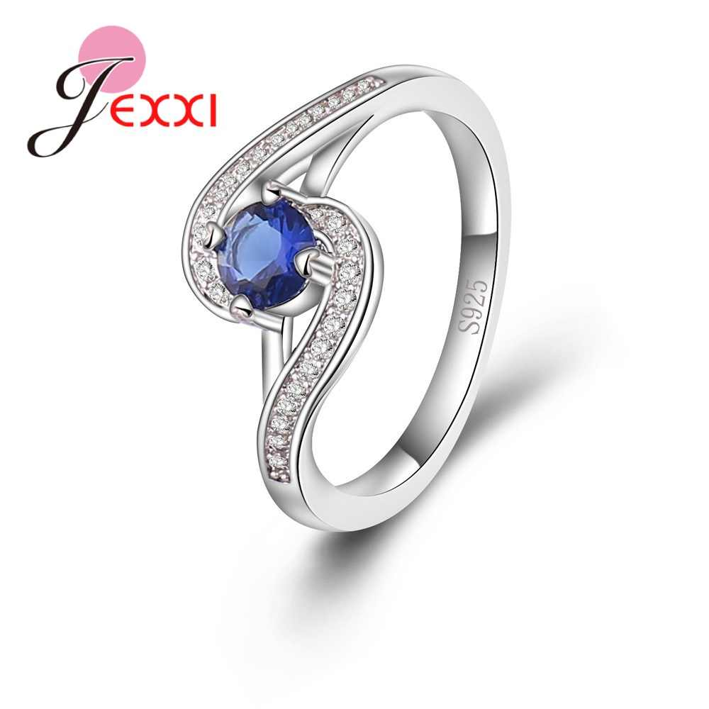 New 925 Sterling Silver Wave-typed Female Models Sapphire Zircon Micro-encrusted Crystals  Ring Holiday Party Jewelry