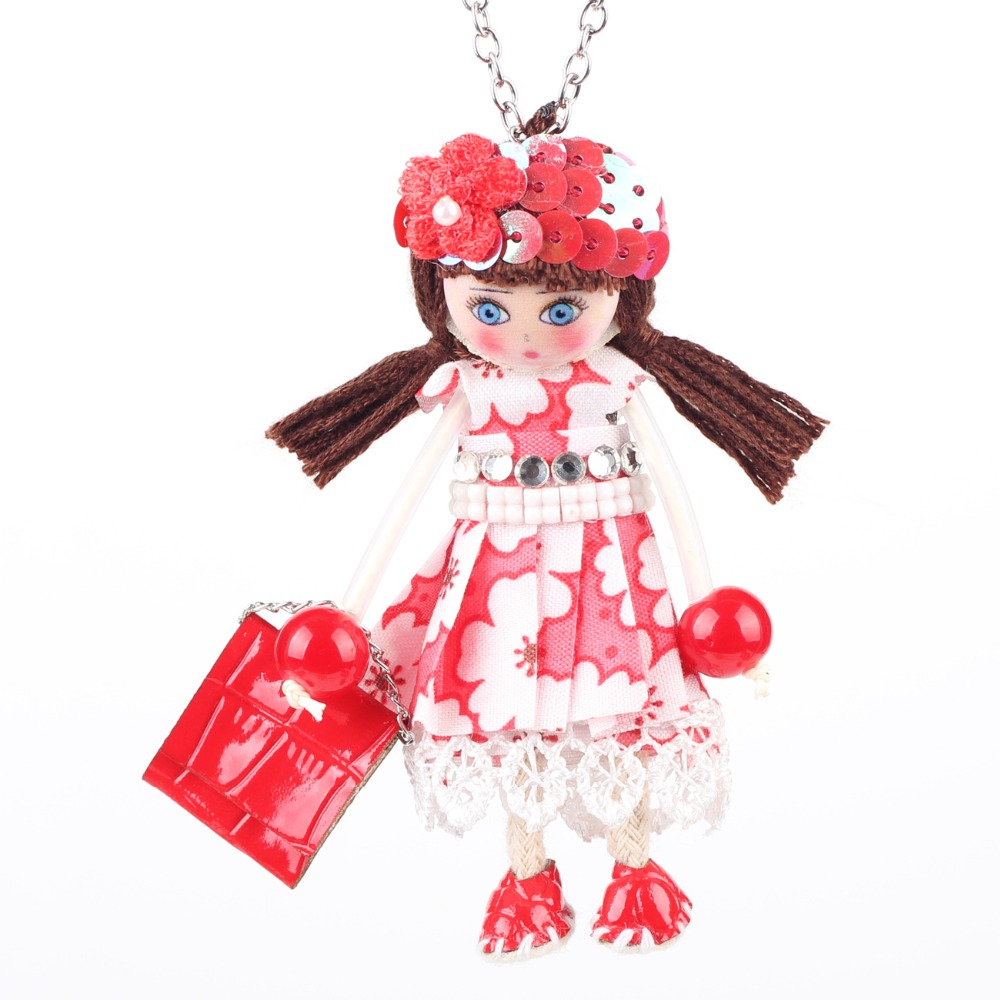 Newei Handmade Doll Necklaces French Statement Cloth Long Chain Pendant 2016 New Spring Style Jewelry for Women Accessories