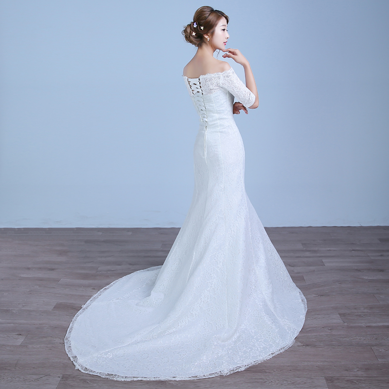 2017 nou culoare sosire albă Mermaid Lace rochie de - Rochii de mireasa - Fotografie 2