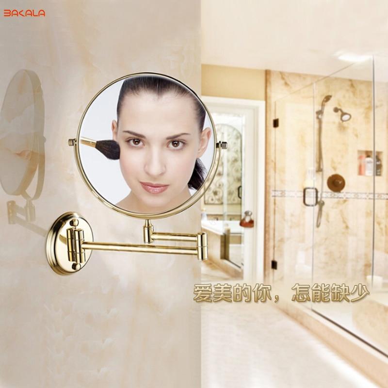 BAKALA 8 Wall Mounted Round Magnifying Bathroom Mirror Brass Makeup Cosmetic Mirror Lady's Private Mirrors wall mounted 8 inches led magnifying cosmetic mirror telescopic brass 2 face magnifying bathroom mirror