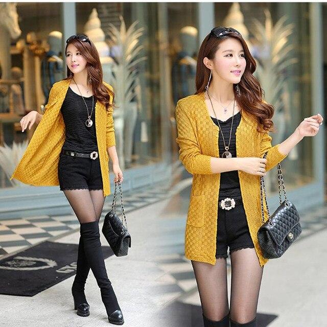 Long Autumn Cardigan With Pockets Female Long Sleeve Feminino Tops 1