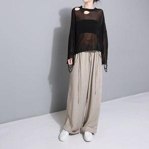 Image 4 - [Eam] 2020 nova primavera cintura alta drawstring solto tamanho grande longo wasy vestindo calças perna larga calças femininas moda jf545