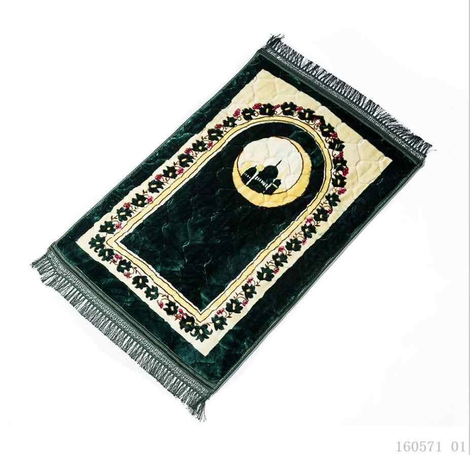 Portable Crescent Masjid Lembut Empuk Doa Tertimbang Perjalanan Selimut Muslim Prayer Rug Islam Sajadah Islam Karpet Rumbai