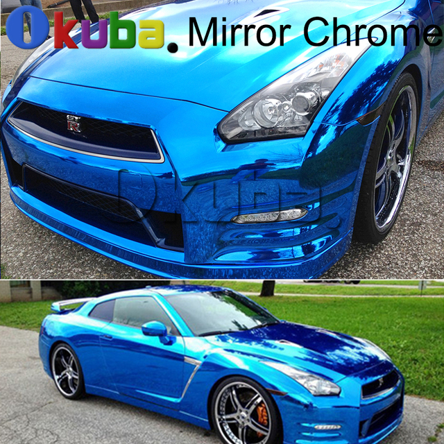 mirror blue chrome vinyl film car wrap adhesive stretched vehicle