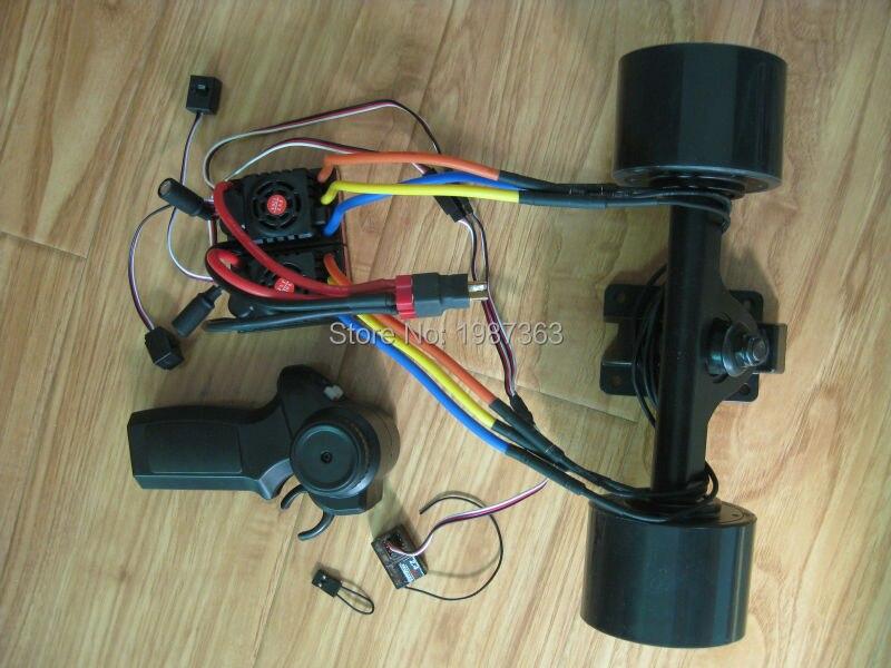 Longboard électrique 72mm moyeu moteur Kit planche à roulettes sans brosse moteur roue avec camion double moteur commande à distance