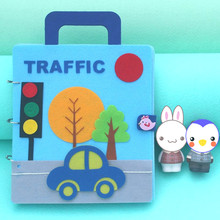 DIY Craft Kits Quiet Books Funny Traffic Theme Cloth Book Toys Mommy Sewing Felt Kit Vehicle Picture My First For Baby