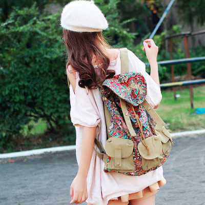 Hotselling new 2017 fashion women backpack female preppy style vintage printing travel bag canvas bag travel