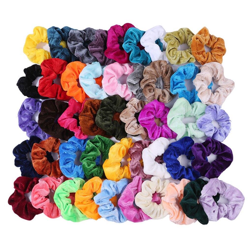 Velvet Scrunchie Hair Bands 46Pcs Velvet Elastic Hair Bands For Women Or Girls Hair Accessories  Different Colors