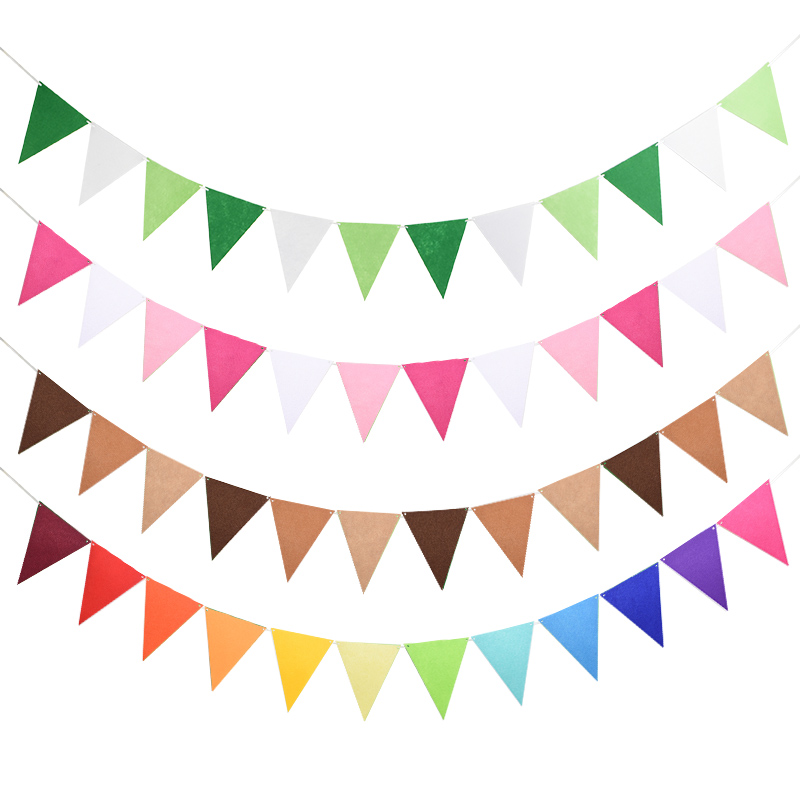 12 Flags 17cm Colorful Felt Banner Garlands Birthday Bunting Pennant Baby Shower Wedding Garland Party Decoration Supplies