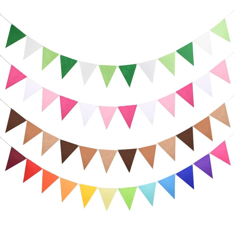 12 флагов 17 см Красочный фетровый баннер гирлянды день рождения флажок перьевая ручка для детского душа свадебные аксессуары для украшения ...