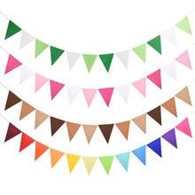 12 bandeiras 17cm colorido feltro banner guirlandas aniversário bunting pennant chuveiro do bebê casamento guirlanda bandeiras festa decoração suprimentos