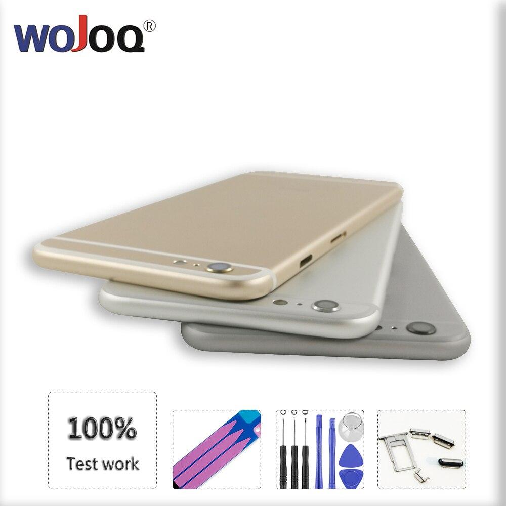 WOJOQ Batterie Abdeckung Zurück Für iPhone 6 6 s Plus Hinten Tür Gehäuse Mittleren Rahmen Ersatz Für Apple 6 6 s Zurück Gehäuse & IMEI