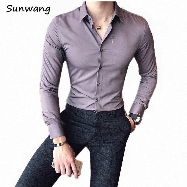 188c3b3c20 Negro para hombre de negocios camisa bordada Cruz lujo slim fit vestido  casual algodón negocios blanco