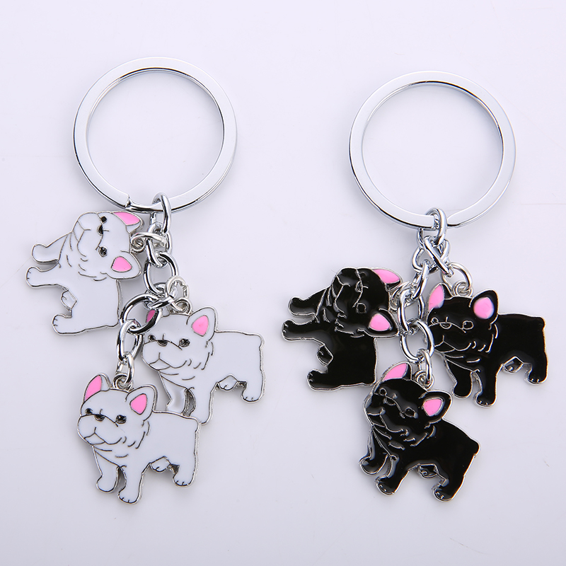 French Bulldog Keychain Key Rings For Women Men Girls White Gold Color Metal Pet Dog Pendant Bag Charm Car Key Chains Keyring