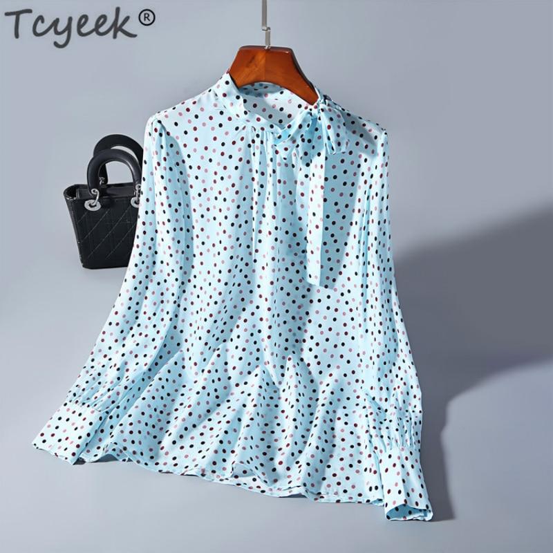 Tcyeek 100% vraie soie Blouse femmes à manches longues chemises à pois Blouse printemps hauts Vintage Blusas Mujer De Moda 2019 LWL1613
