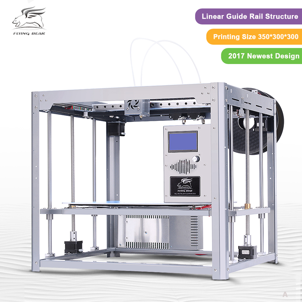 Newest design Flyingbear Tornado large 3d printer DIY Full metal Linear railHigh Quality Precision double extruder double color m6 3d printer 2017 high quality dual extruder full metal printers 3d with free pla filaments 1set gift