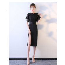 It's YiiYa Evening Dress Floral Lace Black Women Party Dress Butterfly Sleeve Side Slit Robe de Soiree Plus Size 2019 E479